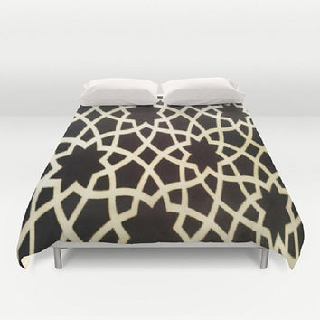 Morocco Duvet Cover Moroccan Duvet Cover Marrakesh Bedding Moroccan Print Duvet Cover Brown Pattern Duvet Cover Middle Eastern Bedding Luxe