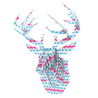 "Apple Kaur Designs ""Swimming Pool Tiles"" Blue Pink Bucky Deer Bust Jr."