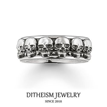 Wedding Eternity Rings Large Skulls Skeleton, 2018 New 925 Sterling Silver Fashion Jewelry Trendy Punk Gift For Women and Men