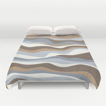 Cordillera Stripe: Neutral Combo Duvet Cover by Eileen Paulino