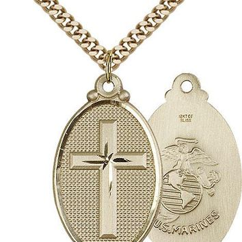 Men's 14K Gold Filled Cross Marines Military Soldier Catholic Medal Necklace 617759880663