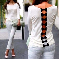 Casual Long Sleeve Bowknot Women Blouse Tops