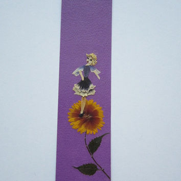 "Handmade unique bookmark ""Provide a good position for negotiations"" - Decorated with dried pressed flowers and herbs - Original art collage."
