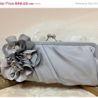 Wedding clutch, Bridesmaid clutch, Gray clutch, silver clutch, evening bag, Bridesmaid bag, crystal clutch, flower bag