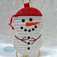 Snow Guy with Red Hat Padded Gift Holder, Zipper Case, Grab Bag