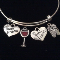 Best Friends Happy Birthday Wine Glass Flip Flop Expandable Silver Charm Bracelet Adjustable Bangle Gift