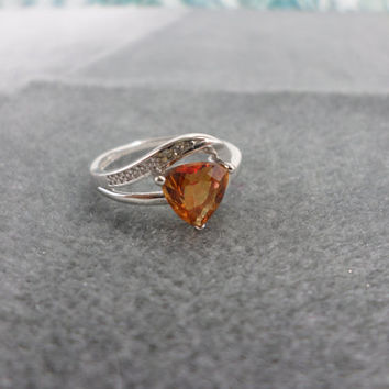 Trillion Cut Ring Azotic Topaz Ring Trillion Cut Topaz Gemstone Ring Jewelry