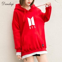 BTS Hoodies Women New Kpop BTS Bangtan Antumn Fleece Hooded Sweatshirt Harajuku Winter Hip Hop Patchwork Moletom Drop Shipping