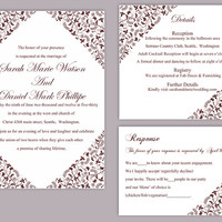 DIY Wedding Invitation Template Set Editable Word File Instant Download Printable Floral Invitation Wine Red Invitation Elegant Invitations