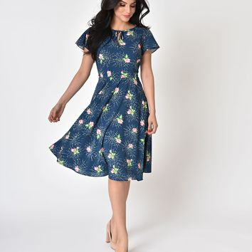 Unique Vintage 1940s Style Navy Webs & Pink Roses Formosa Swing Dress