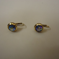 Designer Fashion Earrings Drop/Dangle Metal Faux Gem Female Adult Gold/Blues -- Preowned