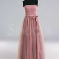 Buy Attractive Pale Violet Red A-line Scoop Neckline Floor Length Bridesmaid/Prom Dress with Sash under 200-SinoAnt.com