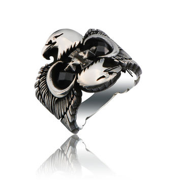925K Sterling Silver Double Head Black Eagle Men Ring