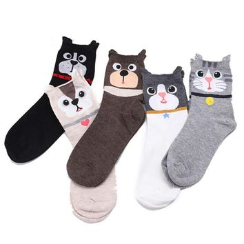 Cartoon Animal Dog Cat Tube Socks Funny Crazy Cool Novelty Cute Fun Funky Colorful