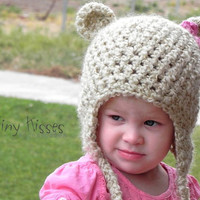INSTANT DOWNLOAD PDF pattern. Girl Teddy Bear Crochet Hat with bow Pattern. Crochet Earflap Hat. Teddy Bear Hat Pattern