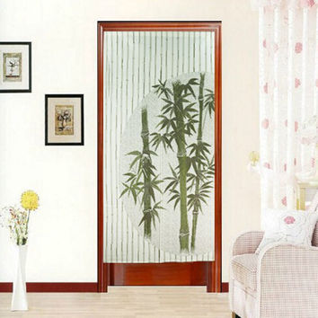 Bamboo Polyester Door Curtain Tapestry Room Divider Doorway Room Door Curtain Cover Home Decorative Textile Accessories 170X85cm