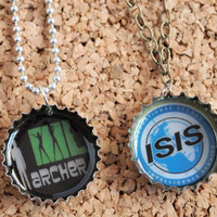 Archer Bottle Charms - upcycled jewelry necklace geekery ISIS fx funny show fan FREE shipping to USA