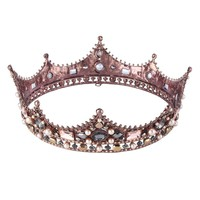 Elegant Queen Rose Gold Business Crown Tiara with Shimmering Gems
