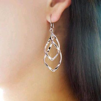 ac PEAPO2Q KISS WIFE Hot Sale Simple Hollow Rhombus Hollywood Star Ziyi Zhang Stud Earrings for Women Girl Piercing Jewelry