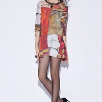 Abstract Print Sleeve Mini Dress