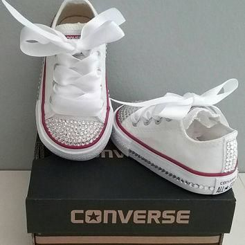 white converse bling crystals toddler sizes 2 10 bedazzled toes all around up th
