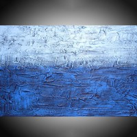 """ARTFINDER: """" Electric Blue """" impasto painting wall art blue tones in acrylic wall abstract canvas abstraction 36 x 24"""" by Stuart Wright - """" Electric Blue""""  in shades of blue on an impas..."""