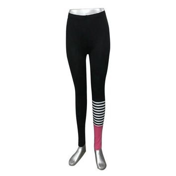 Fitness Legging Striped Patchwork Slim Stretch Women Workout Clothes High Waist Leggings Pantalon Femme#212