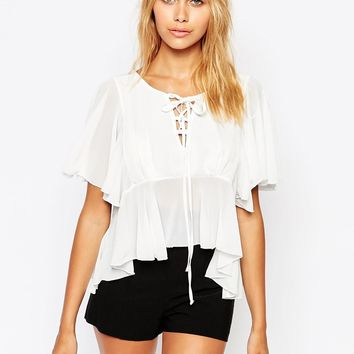 Love Tie Front Blouse With Frill Hem Detail