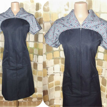 Vintage 60s MOD Waitress Uniform Dress Atomic Navy Blue Print 10 Rockabilly Diner Chic