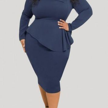 Navy Blue Draped Peplum Bowknot Long Sleeve Plus Size Party Midi Dress