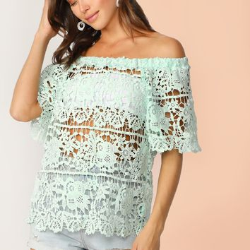 Pastel Green Off Shoulder Guipure Lace Top Without Bandeau