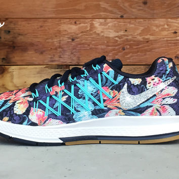 Nike Nike Air Zoom Pegasus 32 Photosynthesis customized by Glitter Kicks Running  Shoes Floral Pattern d6ad03837c