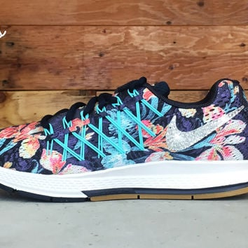 Nike Air Zoom Pegasus 32 Photosynthesis Customized By Glitter Kicks Running Shoes Floral Pattern