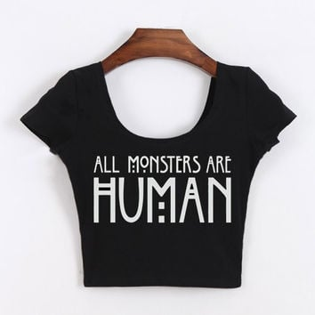 Tumblr Women Clothing All Monsters Are Human Shirt Cropped Tops Short Sleeve crop top for women Funny Tops White/Black