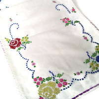 Retro Shabby Chic Table Runner Cross Stitch Embroidery Colorful Flowers Bureau Scarf Pink Red Yellow Green Blue