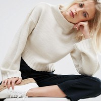 ASOS Chunky Jumper In Crop With High Neck at asos.com