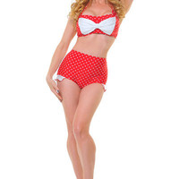 Red & White Polka Dot Cyndy Two Piece Swimsuit