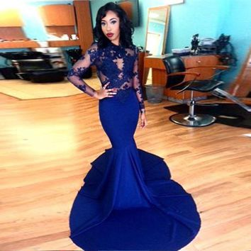 Long Sleeve Prom Dresses 2016 Gorgeous O-neck Top Lace Floor Length Stretch Satin Mermaid Royal Blue African Prom Dress