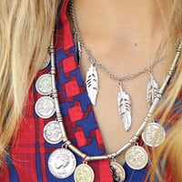 Sparks Fly Coin & Feather Double Layered Necklace