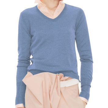 Acne Studios Lia V-Neck Wool Blue Sweater
