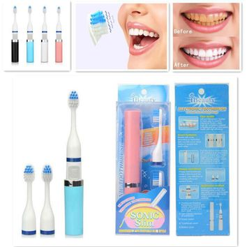 2 Brush Heads Sonic Electric Toothbrush for Adult Deep Cleaning Portable Sonic Toothbrushes Whitening Oral Hygiene