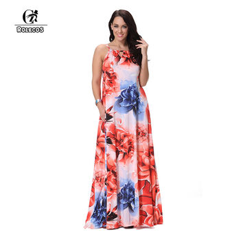 ROLECOS Fashion Women Dress Floral Print Floor Length Dress Sleeveless Casual Dresses Vestidos Sexy Women Party Dress Plus Size