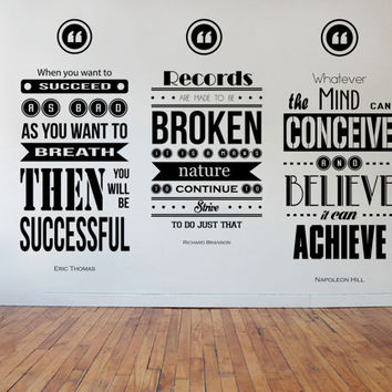 Eric Thomas, Richard Branson, Napoleon Hill Wall Decal Quotes 3 Piece Set Collage