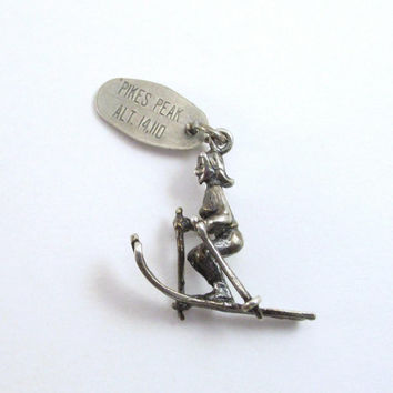 Vintage Sterling Skier Charm, Pike's Peak Colorado Souvenir, Winter 3D Charm, Gift For Skier, Charm Bracelet Charm, Silver Skier Pendant