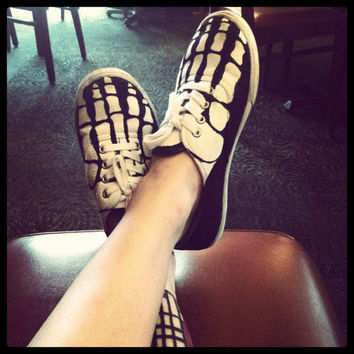 Women's Hand Painted Keds Style Skeleton Shoes by HeartsandParts