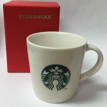 Starbucks 2014 Espresso DEMI Cup WHITE CERAMIC Siren Logo Gift Box 3 Oz Red Box