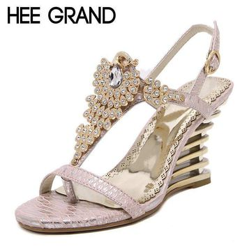 HEE GRAND 2017 Wedges Gladiator Sandals Bling Crystal Flip Flops Sexy High Heels Gold Casual Platform Shoes Woman XWZ3463