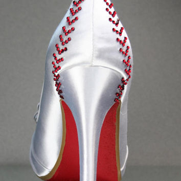 Wedding Shoes -- Baseball Themed Wedding Shoes with Pinstripe Bow on the Toe