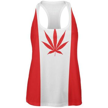 CUPUPWL Canada Flag Pot Leaf Marijuana All Over Womens Work Out Tank Top