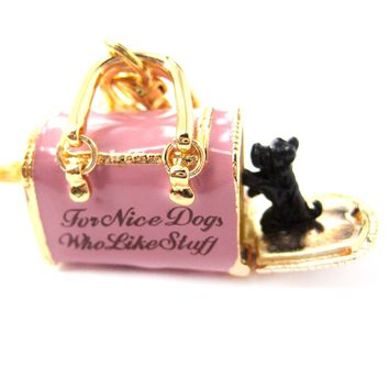 Pet Dog Carrier Shaped Locket Pendant Necklace in Pink | Limited Edition Jewelry